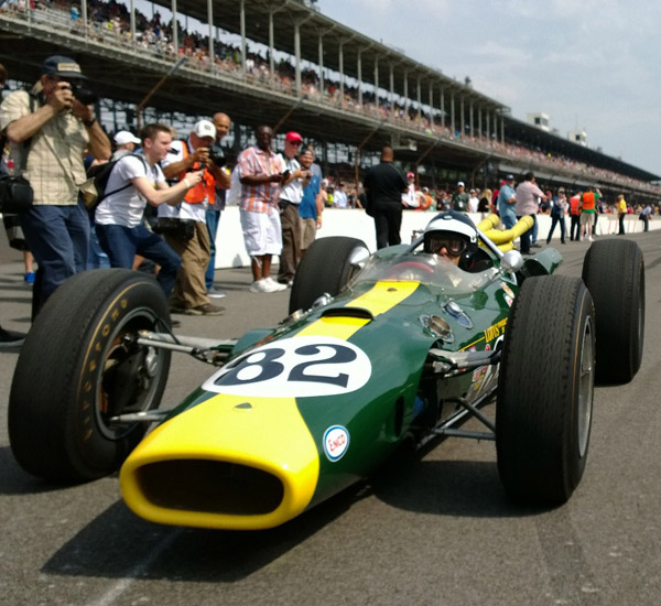 Dario parades Lotus 38 at Indy 500